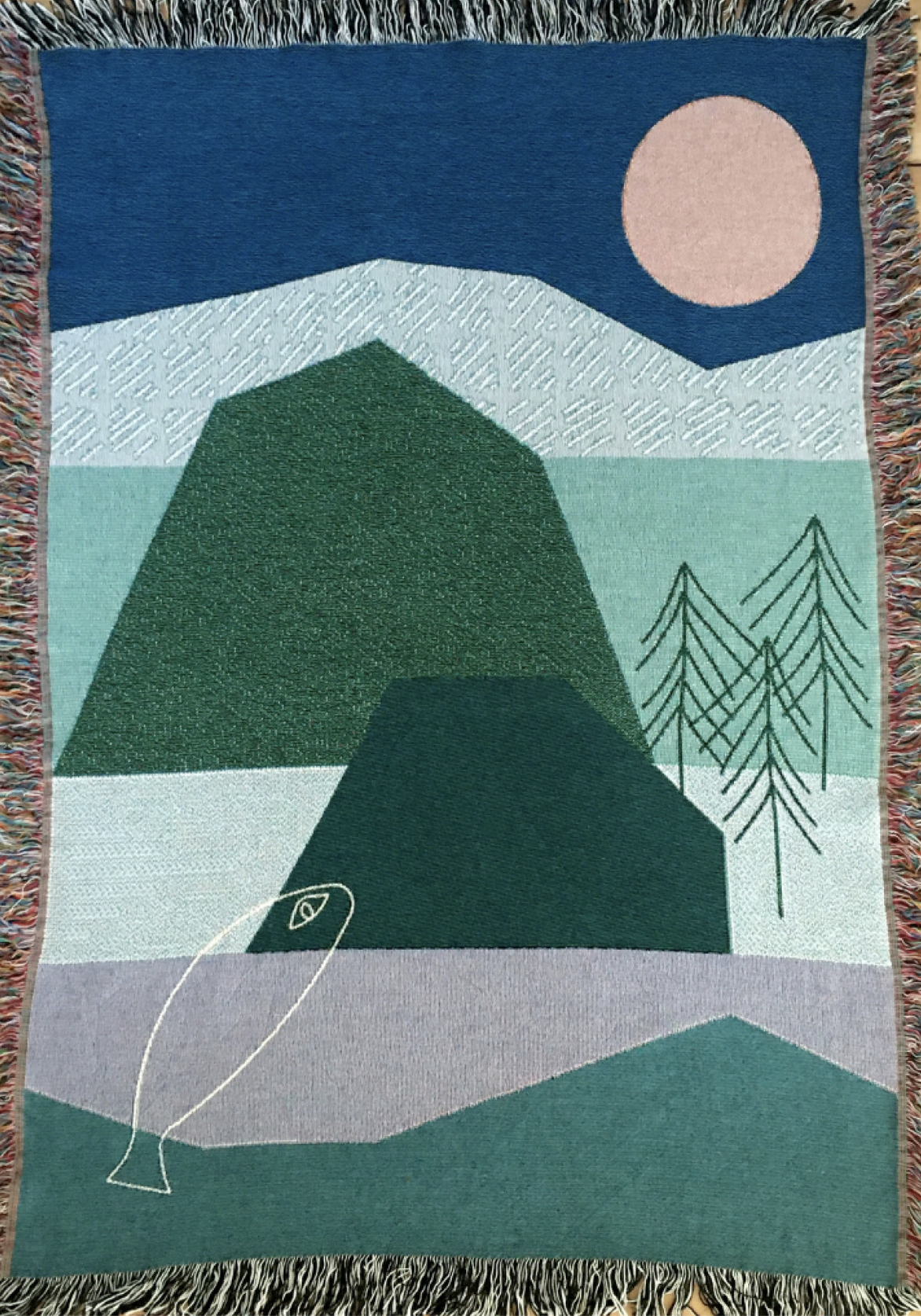 Woven Plaid with drawing of landscape, mountains, trees, fish and sky